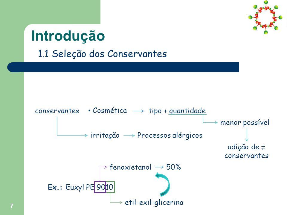 adição de ≠ conservantes