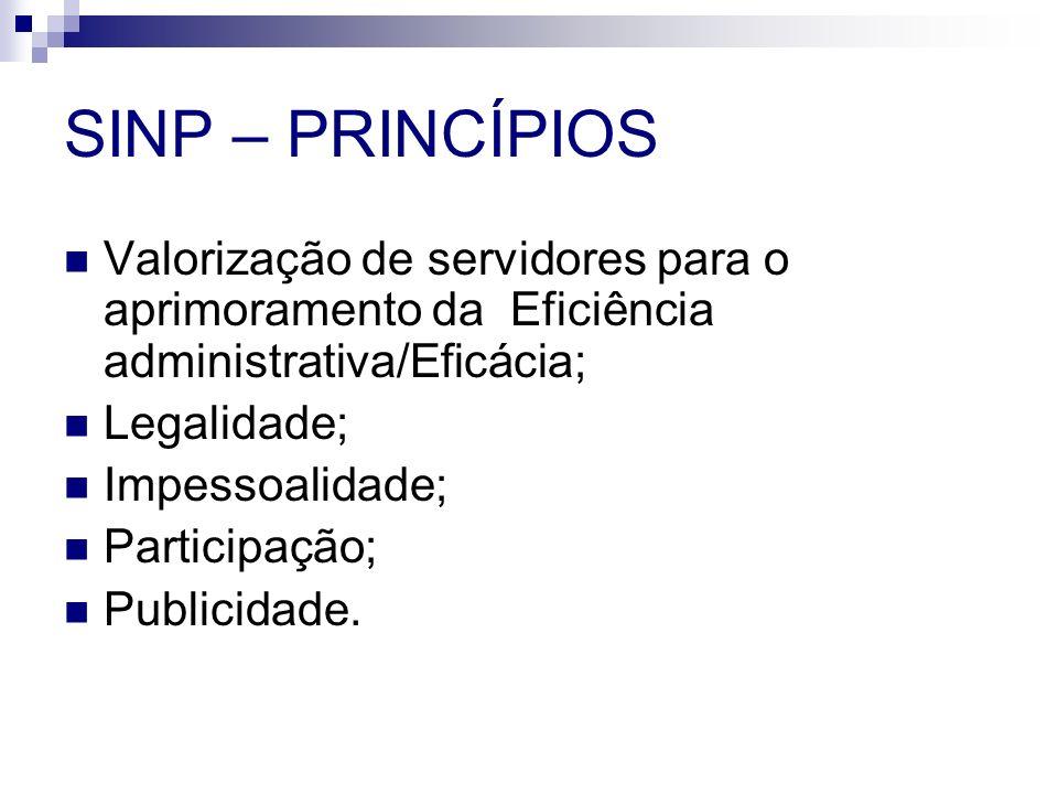 SINP – PRINCÍPIOS Valorização de servidores para o aprimoramento da Eficiência administrativa/Eficácia;