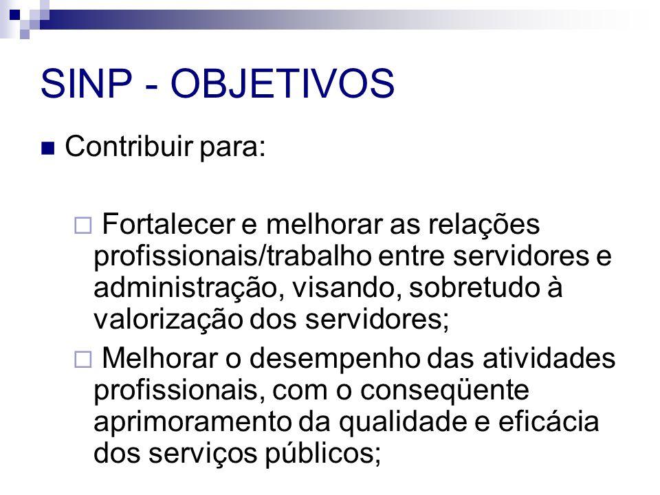 SINP - OBJETIVOS Contribuir para:
