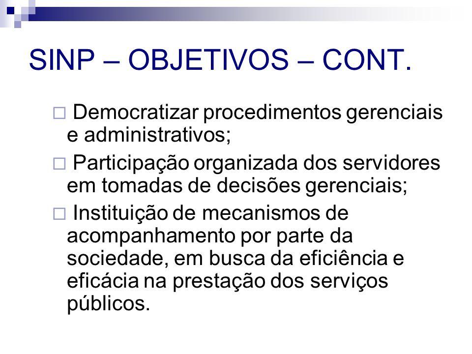 SINP – OBJETIVOS – CONT. Democratizar procedimentos gerenciais e administrativos;