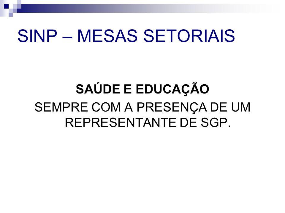 SEMPRE COM A PRESENÇA DE UM REPRESENTANTE DE SGP.