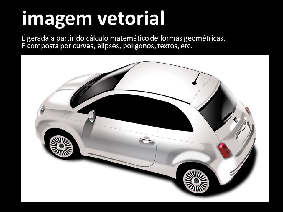 imagem vetorial É gerada a partir do cálculo matemático de formas geométricas.
