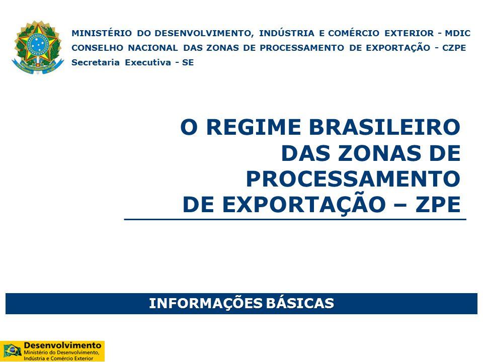 O REGIME BRASILEIRO DAS ZONAS DE PROCESSAMENTO