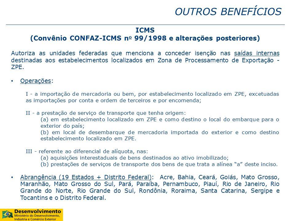 (Convênio CONFAZ-ICMS no 99/1998 e alterações posteriores)