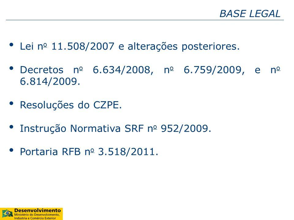 BASE LEGAL Lei no 11.508/2007 e alterações posteriores. Decretos no 6.634/2008, no 6.759/2009, e no 6.814/2009.