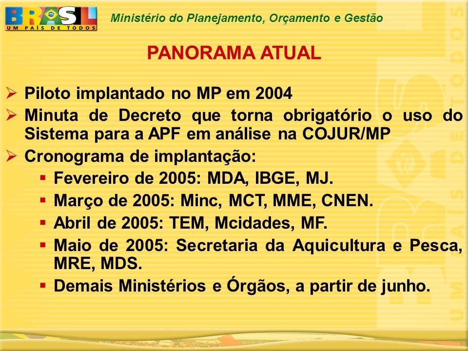 PANORAMA ATUAL Piloto implantado no MP em 2004