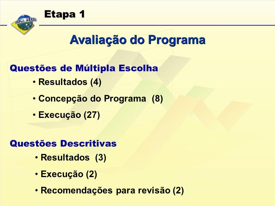 Avaliação do Programa Etapa 1 Questões de Múltipla Escolha