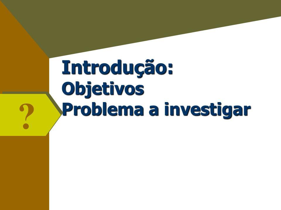 Introdução: Objetivos Problema a investigar