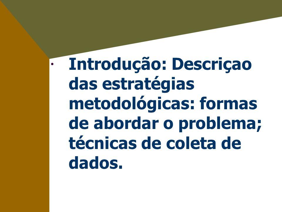 Introdução: Descriçao das estratégias metodológicas: formas de abordar o problema; técnicas de coleta de dados.