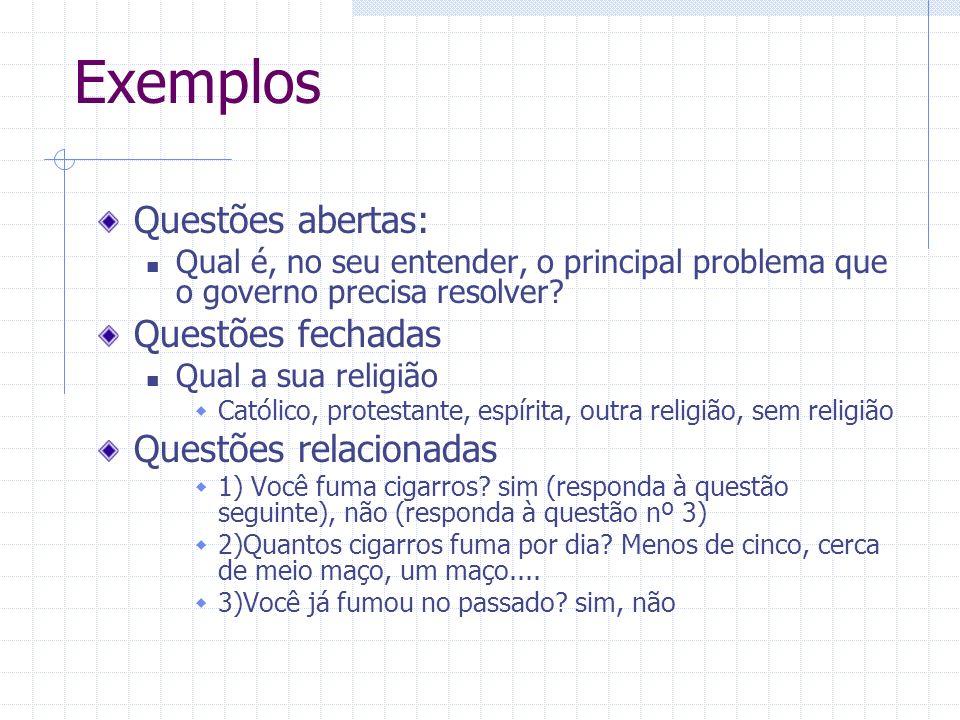 Exemplos Questões abertas: Questões fechadas Questões relacionadas