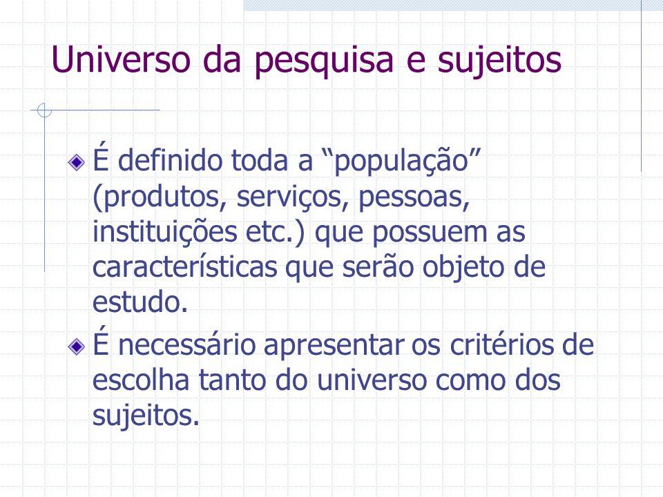 Universo da pesquisa e sujeitos