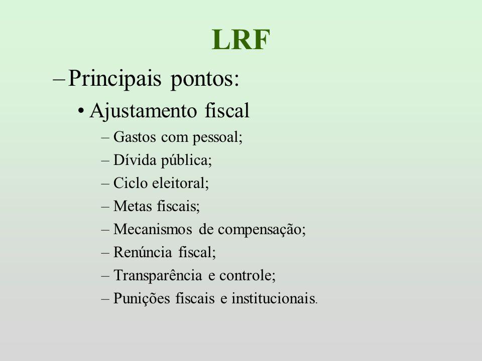 LRF Principais pontos: Ajustamento fiscal Gastos com pessoal;