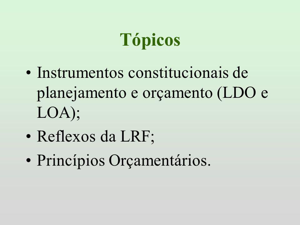 TópicosInstrumentos constitucionais de planejamento e orçamento (LDO e LOA); Reflexos da LRF; Princípios Orçamentários.