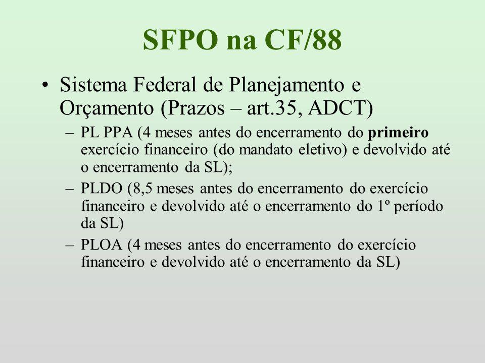 SFPO na CF/88Sistema Federal de Planejamento e Orçamento (Prazos – art.35, ADCT)