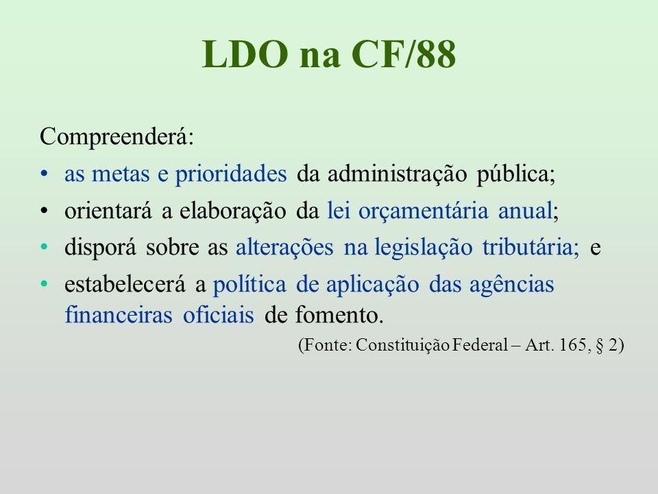 LDO na CF/88 Compreenderá: