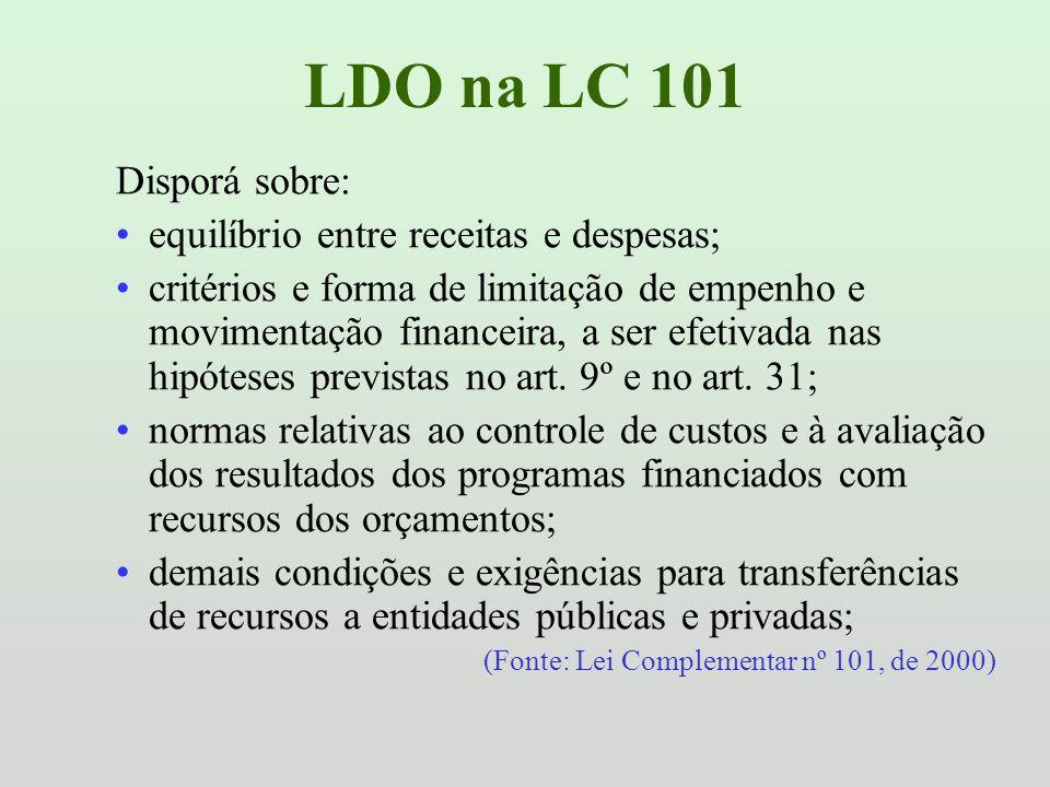 LDO na LC 101 Disporá sobre: equilíbrio entre receitas e despesas;