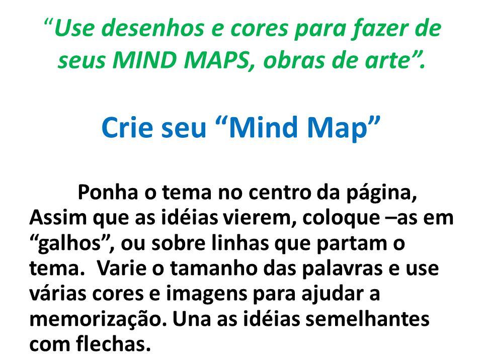 Use desenhos e cores para fazer de seus MIND MAPS, obras de arte .