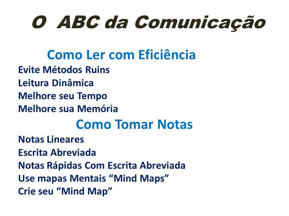 O ABC da Comunicação Como Ler com Eficiência Como Tomar Notas