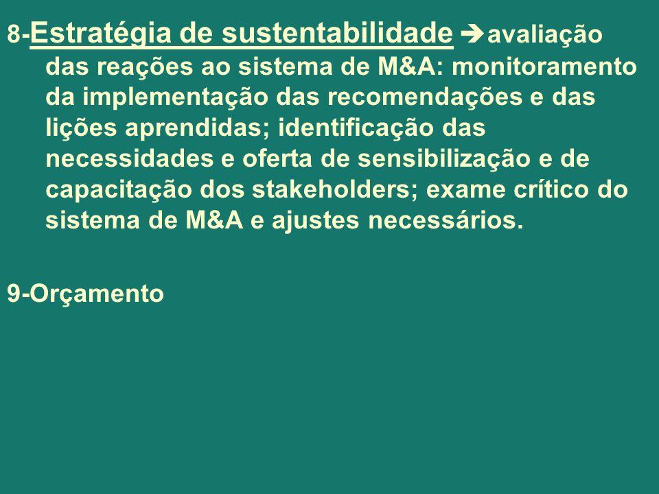 8-Estratégia de sustentabilidade avaliação das reações ao sistema de M&A: monitoramento da implementação das recomendações e das lições aprendidas; identificação das necessidades e oferta de sensibilização e de capacitação dos stakeholders; exame crítico do sistema de M&A e ajustes necessários.