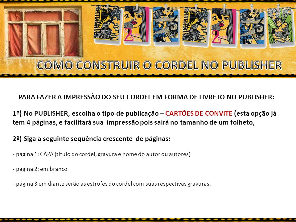 COMO CONSTRUIR O CORDEL NO PUBLISHER