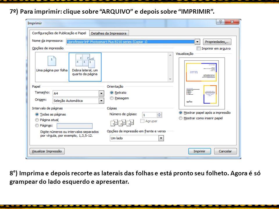 7º) Para imprimir: clique sobre ARQUIVO e depois sobre IMPRIMIR .