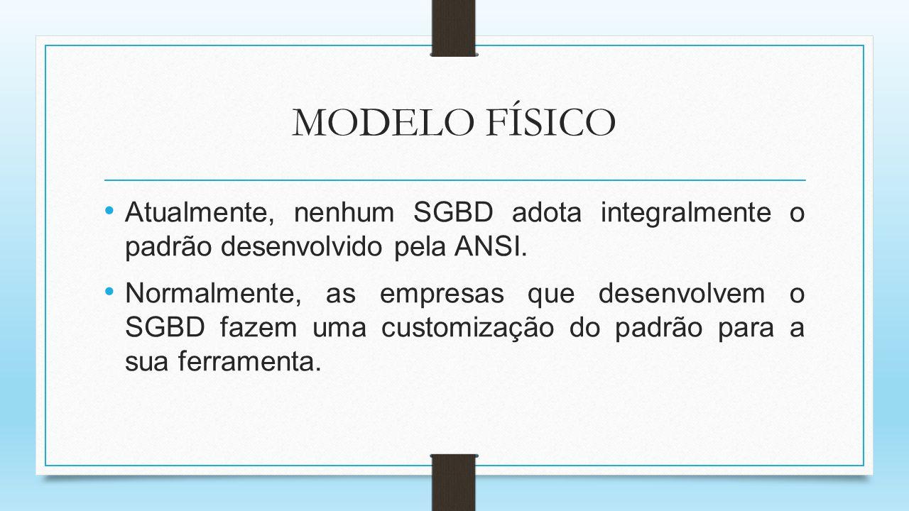 MODELO FÍSICO Atualmente, nenhum SGBD adota integralmente o padrão desenvolvido pela ANSI.