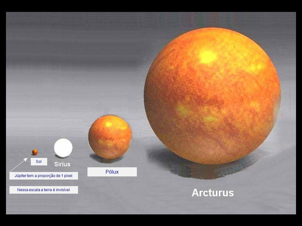 Pólux Sol Júpiter tem a proporção de 1 pixel