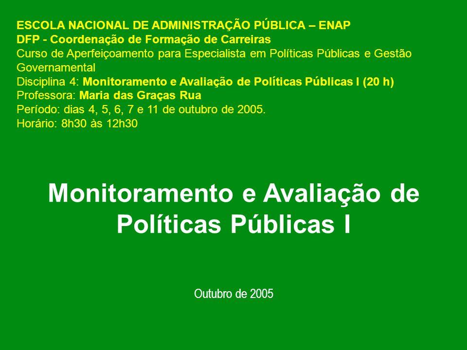 Monitoramento e Avaliação de Políticas Públicas I