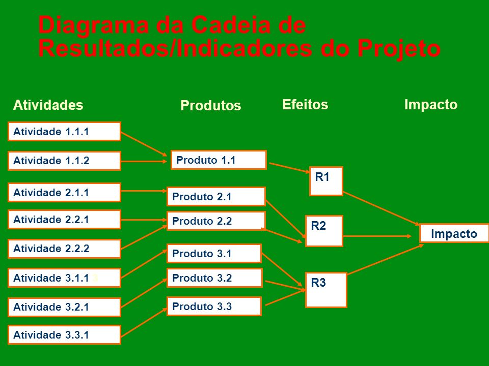 Diagrama da Cadeia de Resultados/Indicadores do Projeto