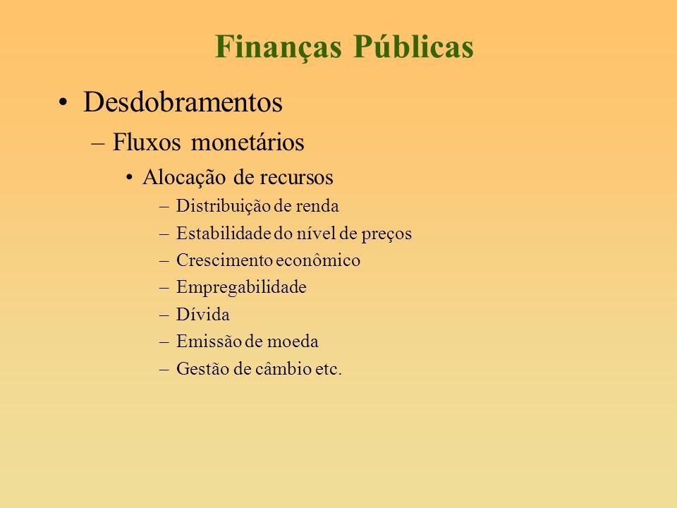 Finanças Públicas Desdobramentos Fluxos monetários