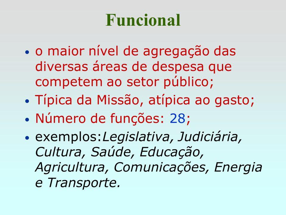 Funcionalo maior nível de agregação das diversas áreas de despesa que competem ao setor público; Típica da Missão, atípica ao gasto;