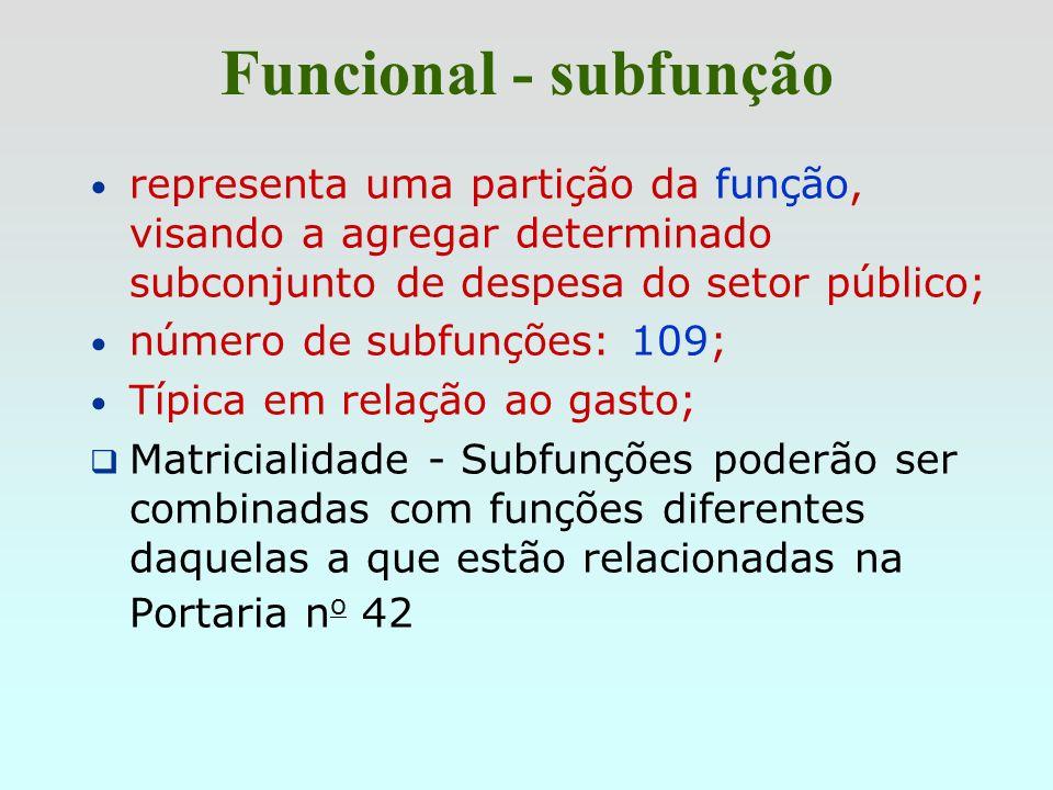 Funcional - subfunçãorepresenta uma partição da função, visando a agregar determinado subconjunto de despesa do setor público;