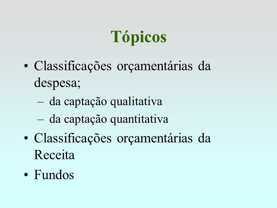 Tópicos Classificações orçamentárias da despesa;