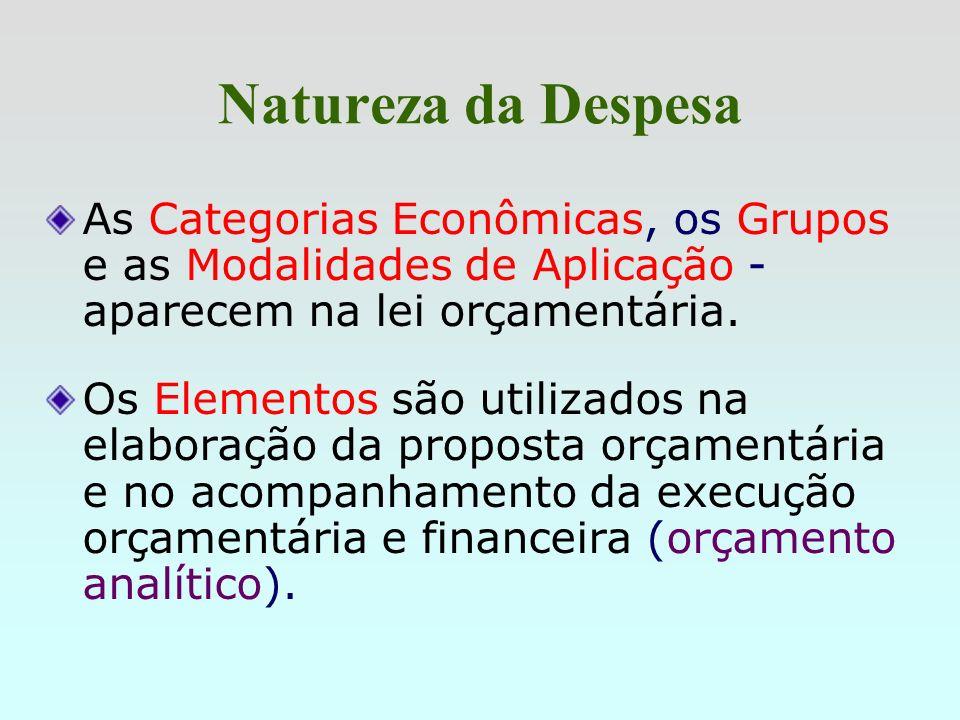 Natureza da DespesaAs Categorias Econômicas, os Grupos e as Modalidades de Aplicação - aparecem na lei orçamentária.