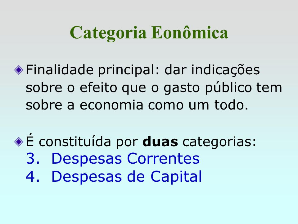Categoria Eonômica 3. Despesas Correntes 4. Despesas de Capital
