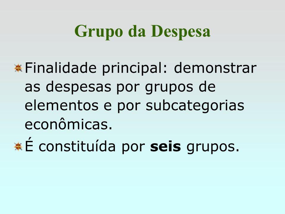 Grupo da DespesaFinalidade principal: demonstrar as despesas por grupos de elementos e por subcategorias econômicas.