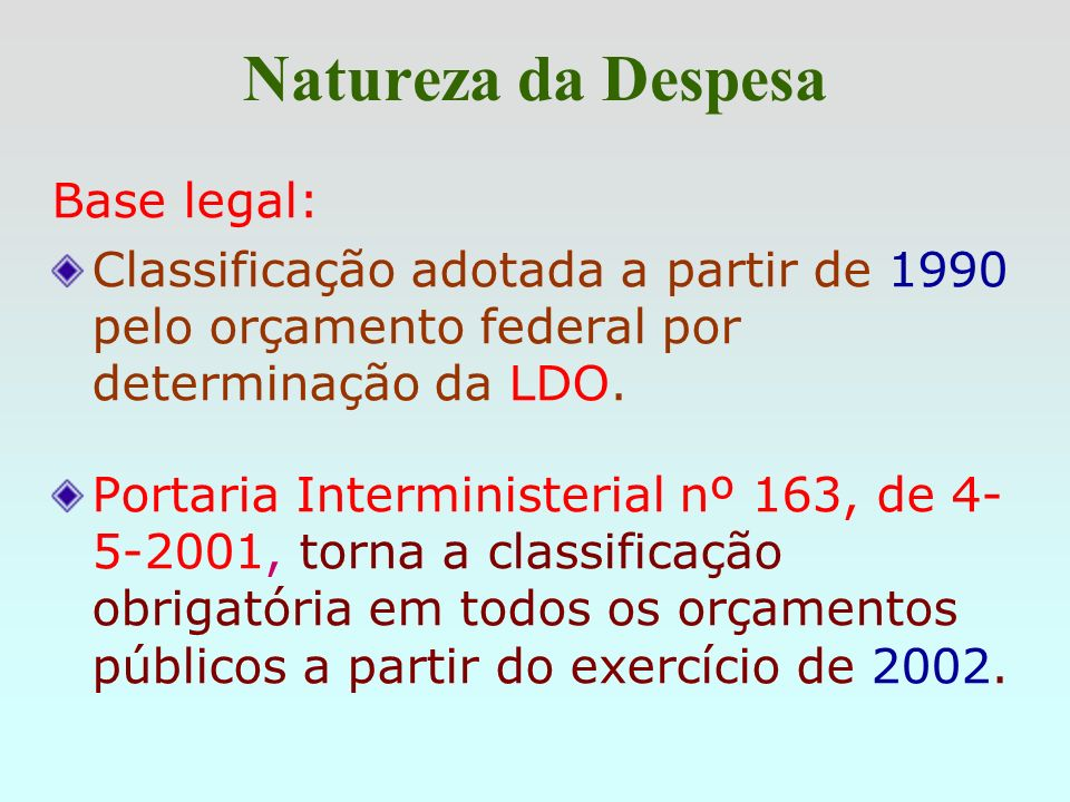 Natureza da Despesa Base legal: