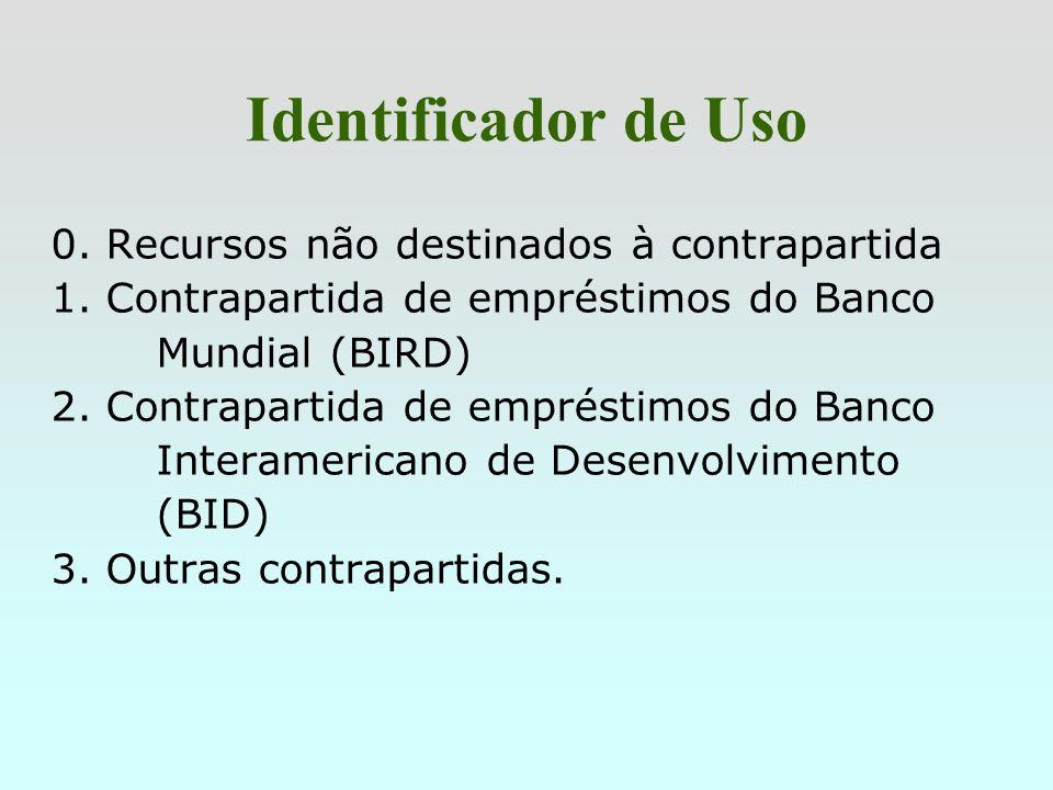 Identificador de Uso 0. Recursos não destinados à contrapartida