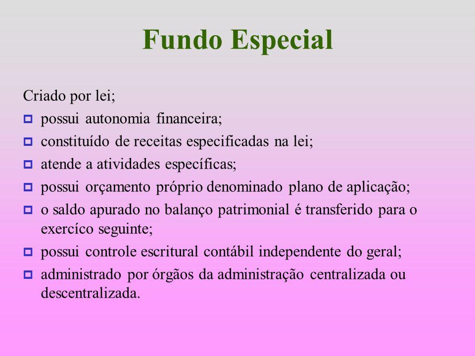 Fundo Especial Criado por lei; possui autonomia financeira;