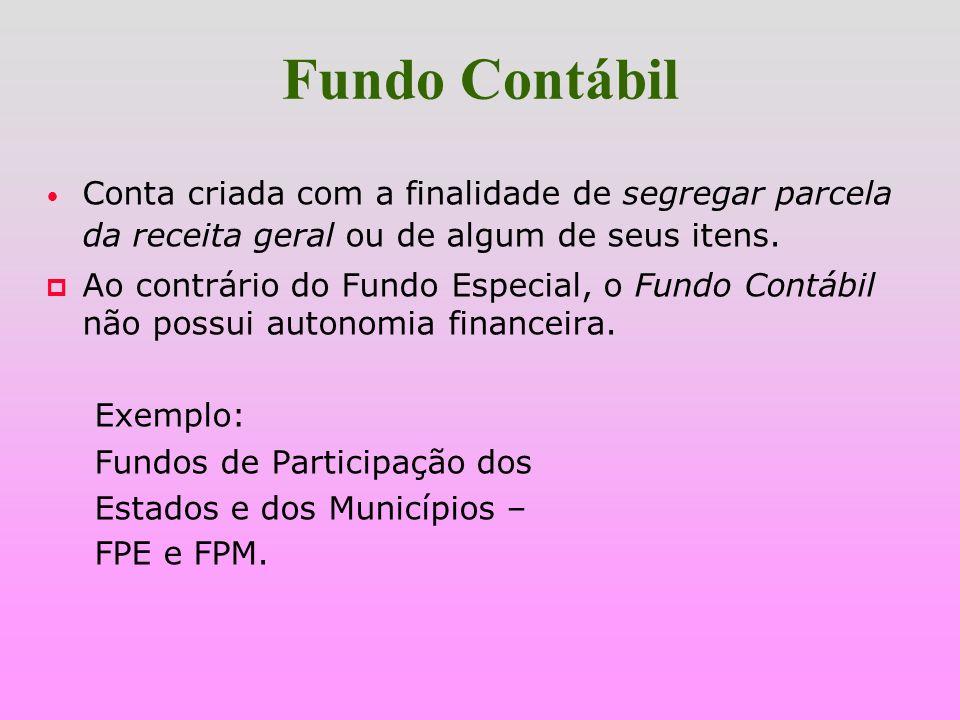 Fundo ContábilConta criada com a finalidade de segregar parcela da receita geral ou de algum de seus itens.