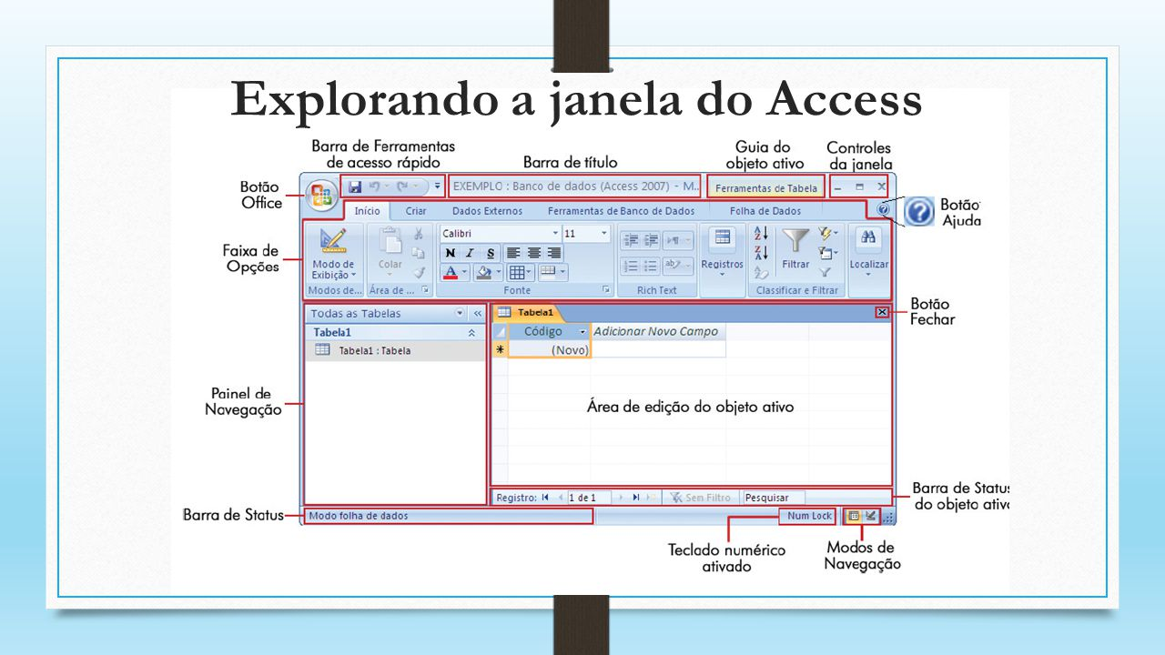 Explorando a janela do Access