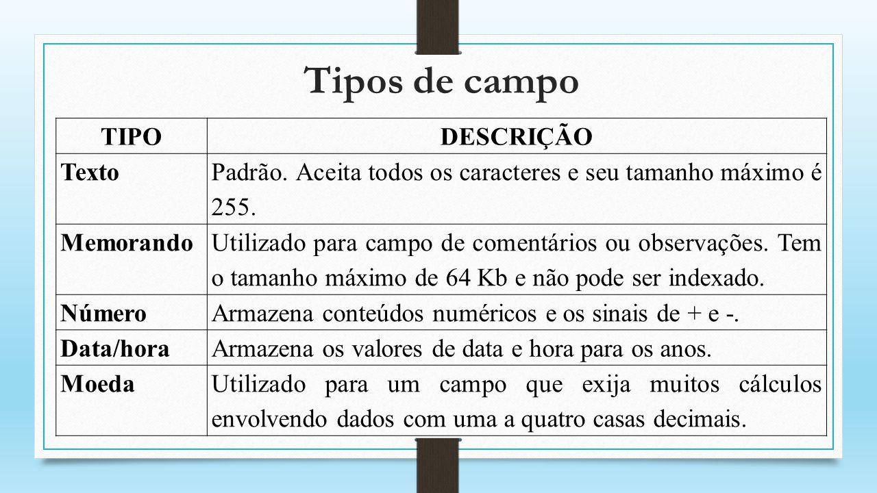 Tipos de campo TIPO DESCRIÇÃO Texto