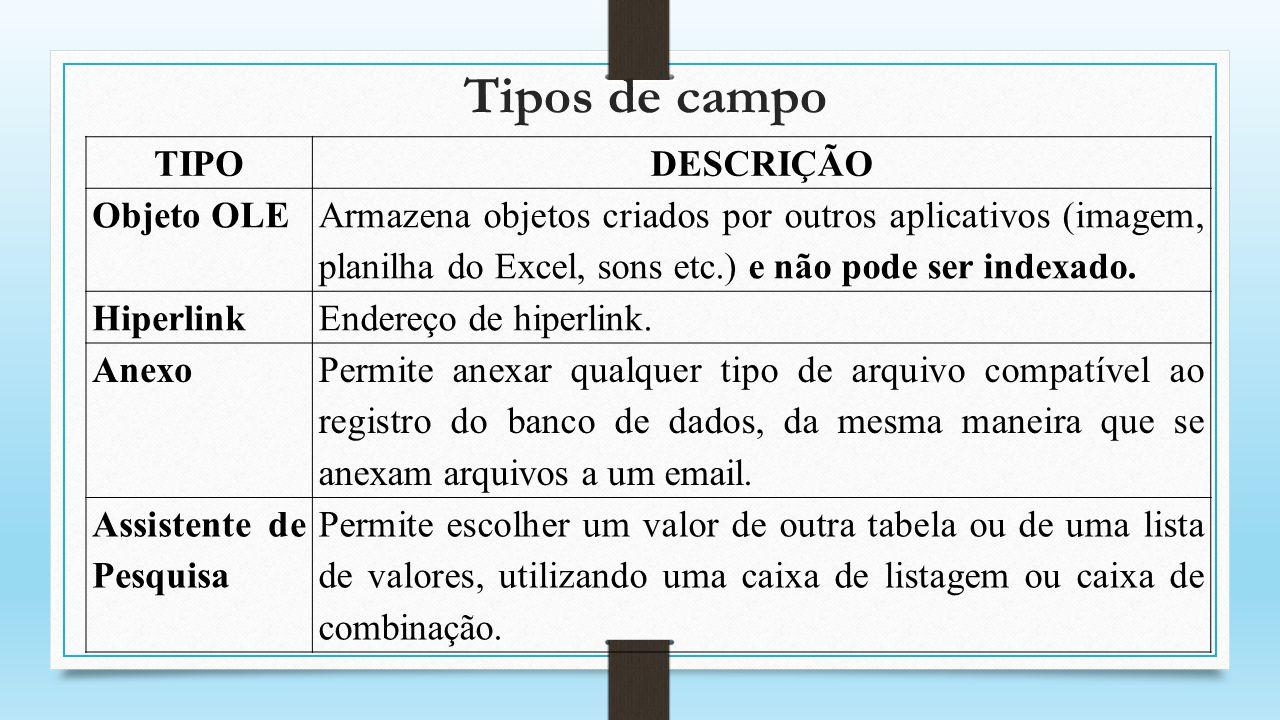 Tipos de campo TIPO DESCRIÇÃO Objeto OLE