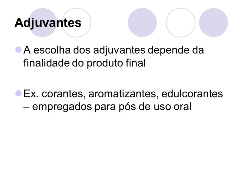 Adjuvantes A escolha dos adjuvantes depende da finalidade do produto final.