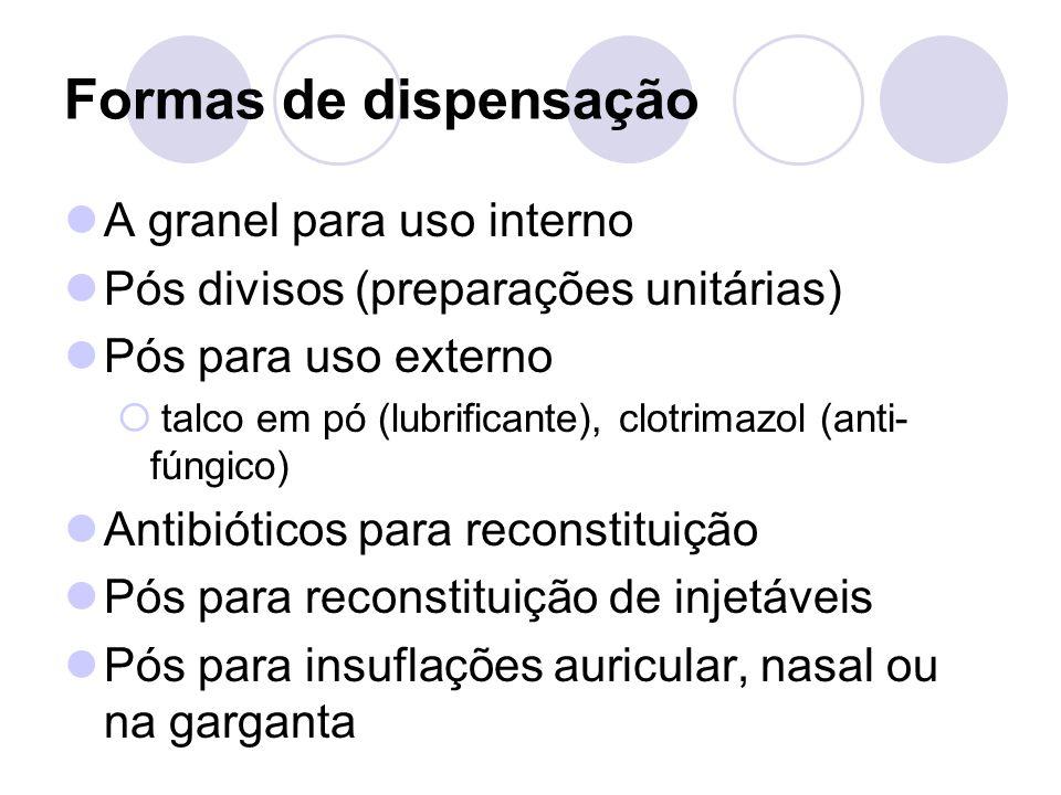 Formas de dispensação A granel para uso interno