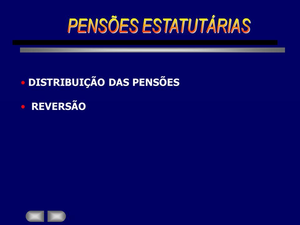 PENSÕES ESTATUTÁRIAS DISTRIBUIÇÃO DAS PENSÕES REVERSÃO