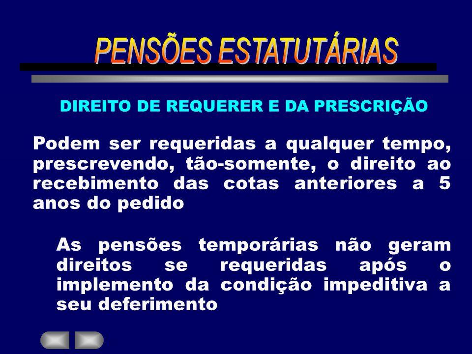 DIREITO DE REQUERER E DA PRESCRIÇÃO