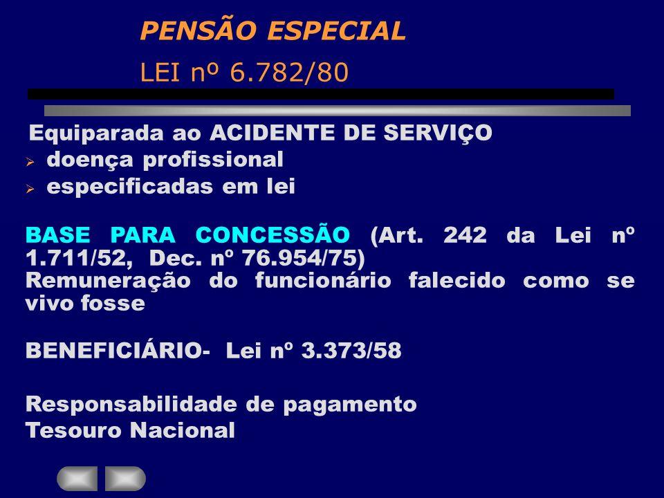 PENSÃO ESPECIAL LEI nº 6.782/80
