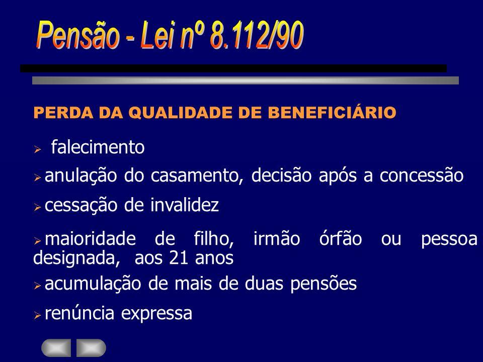 Pensão - Lei nº 8.112/90 falecimento