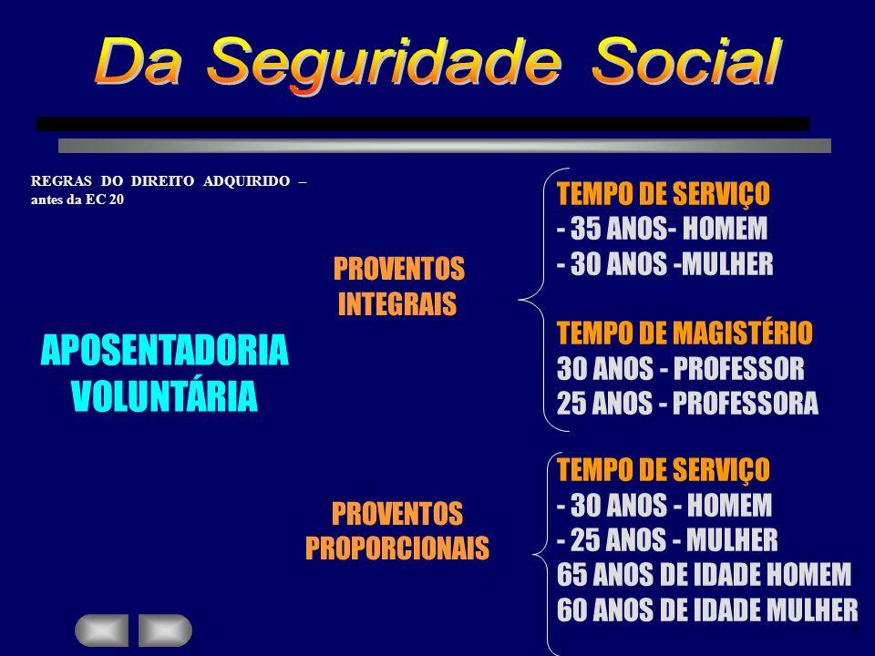 Da Seguridade Social APOSENTADORIA VOLUNTÁRIA TEMPO DE SERVIÇO